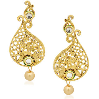 Amaal Kundan Pearl Jhumka Earrings For Women Girls in Traditional Ethnic Gold Plated Earings  J0118
