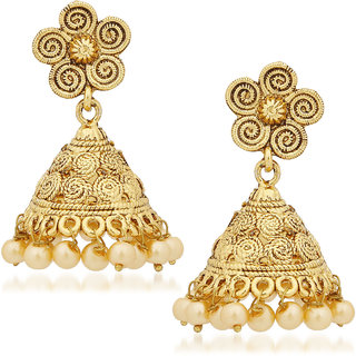 Amaal Kundan Pearl Jhumka Earrings For Women S In Traditional Ethnic Gold Plated Earings J0121