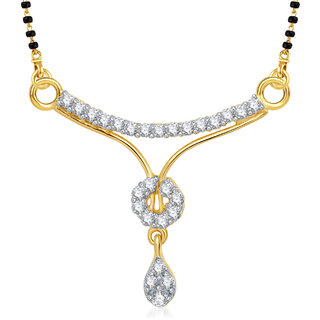 Amaal Mangalsutra For women Gold Plated In American Diamond Cz Pendant MS0794