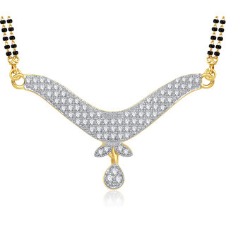 Amaal Mangalsutra For women Gold Plated In American Diamond Cz Pendant MS0807
