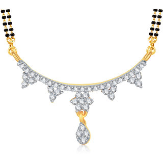 Amaal Mangalsutra For women Gold Plated In American Diamond Cz Pendant MS0821