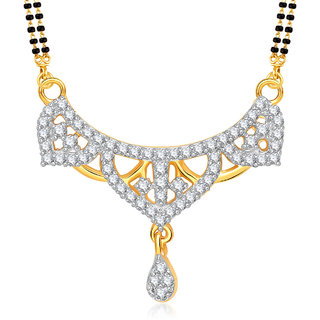 Amaal Mangalsutra For women Gold Plated In American Diamond Cz Pendant MS0852