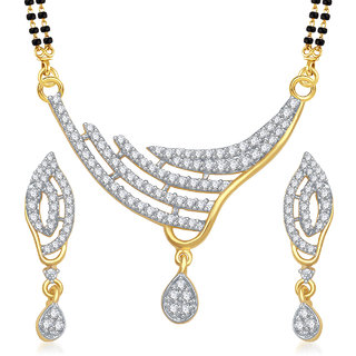 Amaal Mangalsutra For Women Jewellery Set  Gold Plated Cz In American Diamond MSPT0149