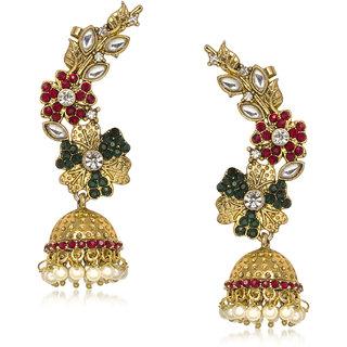 Amaal Traditional Earrings Fancy Party Wear Kundan Moti Diamond Earrings For Women T0372