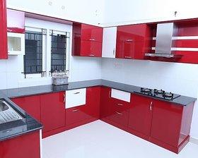 U Shaped Red Modular Kitchen