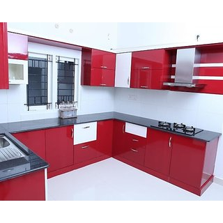 Buy U Shaped Red Modular Kitchen Online Get 0 Off