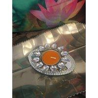 Kundan Tea Light Holder With Mirror Coaster Yellow Colour