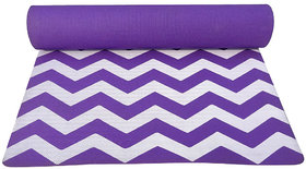Gravolite 4Mm Thickness 2.1 Feet Wide 6 Feet Length Zigzag Printed Yoga Mat In Purple Color With Strap