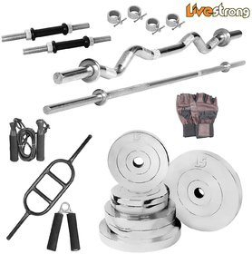 LiveStrong 8 kg chrome steel plates  home gym combo 3
