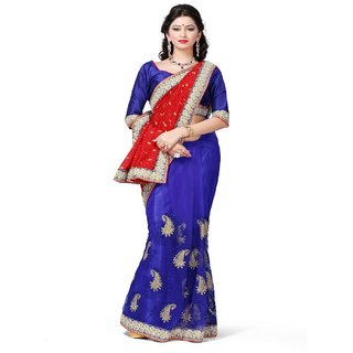 Yuvastyles Womens Navy Blue Brasso Net  Saree
