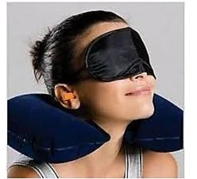 Three Tourists Treasures Black Neck Pillow Cushion Car,Ear Plugs, Eye Mask Sets