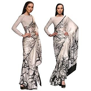 Fashion With You Black & White Silk Printed Saree With Blouse