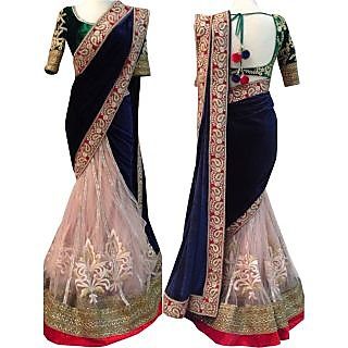 Latest Bollywood Designer Net And Velvet Navy Blue And Cream Saree