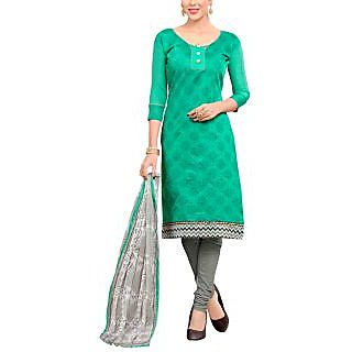 Sareemall Green Chanderi Block Print Salwar Suit Dress Material (Unstitched)