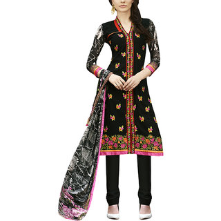 Sareemall Black Georgette Embroidered Salwar Suit Dress Material