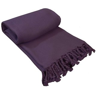 Avioni Premium 100 Cotton Sofa Throws Blankets In Purple