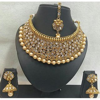 ae1957ef6aae6 Golden Pearl Polki Necklace Set