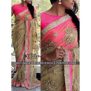 Latest Bollywood Designer Beige And Pink Naylon Net Saree