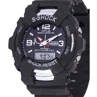 Round Dial Black Strap Digital And Analog Watch With Light For Men by S Shock