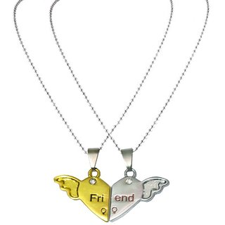 Men Style Couples His and Hers Friend  Necklancewith chains (2 pieces - his and her) - Silver For Friendship Day Gift