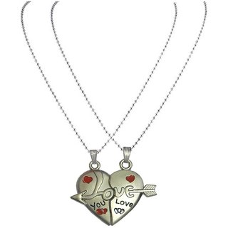 Men Style Couples His and Hers I Love You  Necklance with chains (2 pieces - his and her) - Silver For Valentine Day Gi