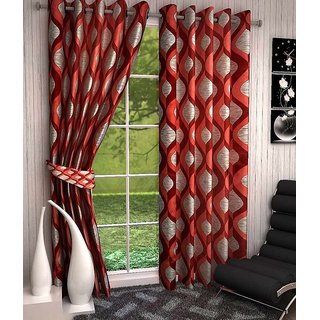 P Home Decor Polyester Door Curtains (Set of 2) 7 Fet x 4 Feet, Red