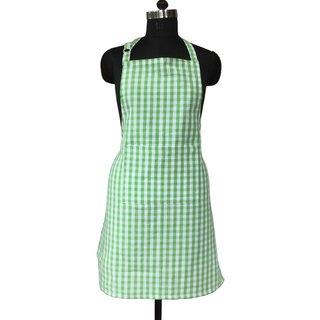 Lushomes Green Gingham Checks Apron with Pocket and Adjustable Buckle