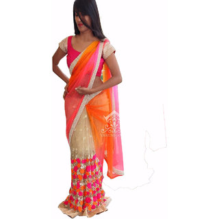 New Designer Multicolor Georgette And Pink Half And Half Saree
