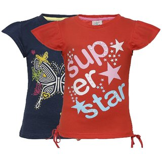 Punkster Navy Blue  Red T-Shirt Combo For Girls