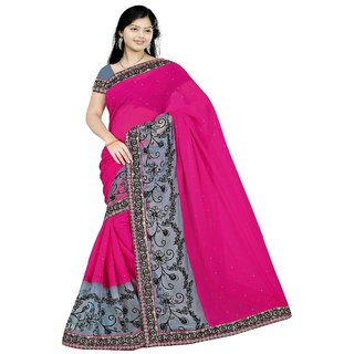 Yuvastyles Womens Pink Tone Pure Georgette Gorgeous Saree