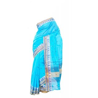 Cotton Handloom Sky Blue Color Saree