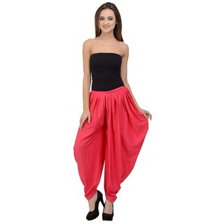Rumara Pink Solid Poly Crepe Dhoti for women