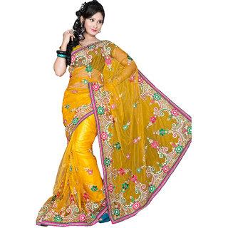 Yuvastyles Womens Yellow Pure Net Impressive Saree