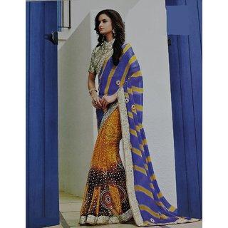 Designer Jaipuri Chiffon Half Half womens Saree