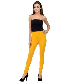 Rumara Yellow Solid  Cotton Lycra Leggings for women