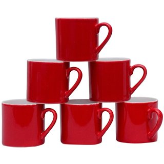 Potters Story Red Ceramic Tea Mug Set Of 6 For Couples (160 Ml  6.5 Cm)-Dc3002