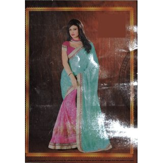 Designer Womens Saree with brasso palla and tissue plate