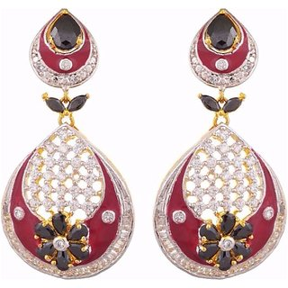 Tuan Gold Plated Alloy Cz Diamond Drop Earring For Women (Ier-255)