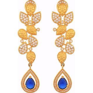 Tuan Gold Plated Alloy Cz Diamond Dangle Earring For Partywear Look (Ier-394)