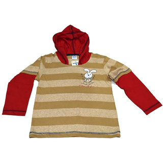 Mama  Bebes Infant Wear - Boys Hooded Tshirts ,Color-Brown / Red Emzmbboyhood1E