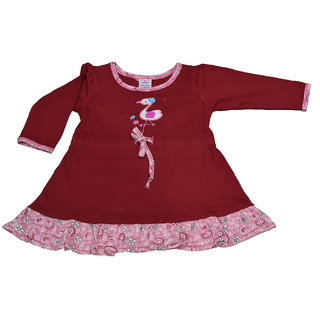 Mama  Bebes Infant Wear - Infant / Girls Full Seleeves Shirts,Color-Maroon Emzmbgirltee2D