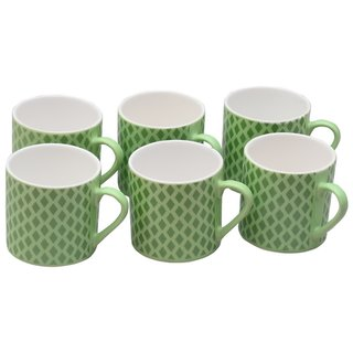 Potters Story Green Ceramic Coffee Mug Set Of 6 For Parents (170 Ml  6.5 Cm)-Dd5003