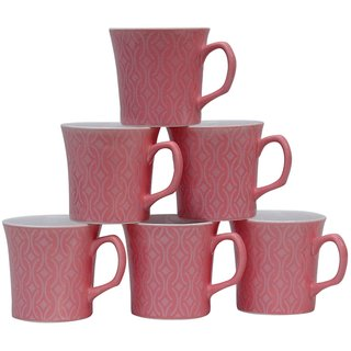 Potters Story Pink Ceramic Tea  Coffee Mug Set Of 6 For Parents (160 Ml  7 Cm)-Dd5008