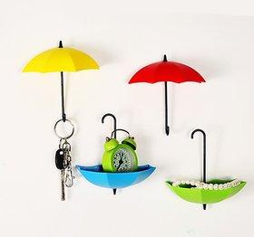 3Pcs Plastic Colorful Umbrella Shape Wall Hook Small Key Holder No of Pieces 1