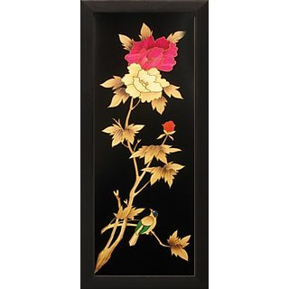 Floral Textured Canvas Painting (16 inch x 7 inch)