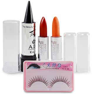 Make-up combo - 2 Mars Lipstick + ADS Kajal + 1 Eyelash