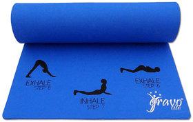Gravolite 8Mm Thick 3 Feet Wide 6.5 Feet Lenght Sun Salutation Premium Yoga Mat Blue