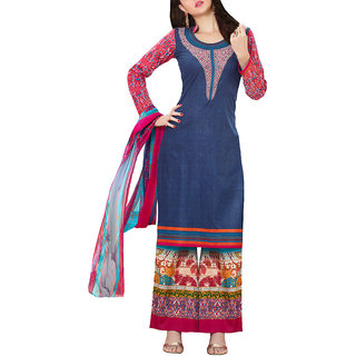 Sareemall Blue Cotton Printed Salwar Suit Dress Material (Unstitched)