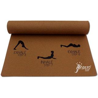 Gravolite 5Mm Thick 2.5 Feet Wide 6 Feet Lenght Sun Salutation Premium Yoga Mat Golden Brown
