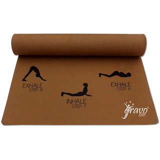 Gravolite 9Mm Thick 2.1 Feet Wide 6 Feet Lenght Sun Salutation Premium Yoga Mat Golden Brown